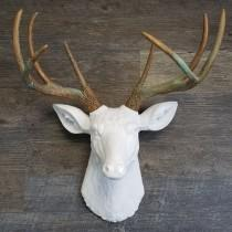 Faux Large White Deer Head With Patina Antlers - Innovatefy