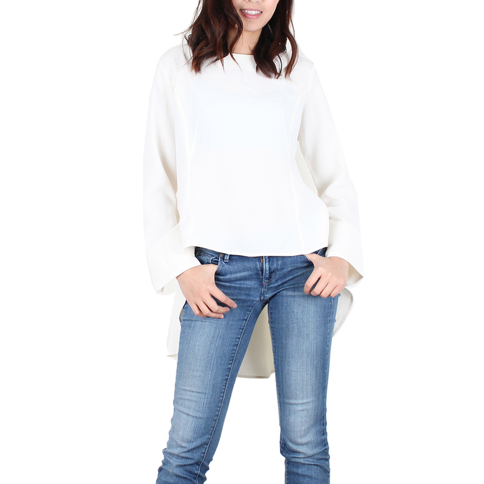 Urban Diction Women White Blouse Hi-Lo Hem Top