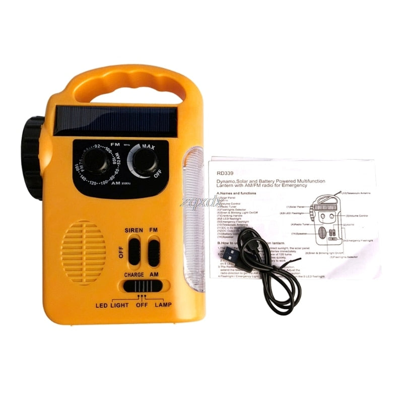 Outdoor Emergency Hand Crank Solar AM/FM Radio w/ LED Lamp