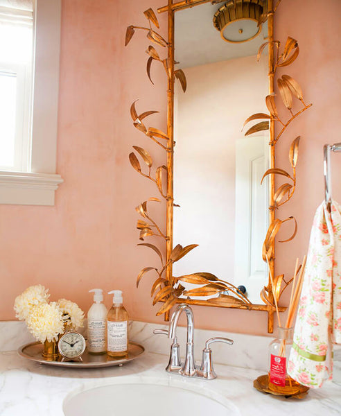 pink master bath decor