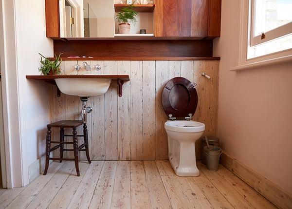 wooden bathroom toilet storage