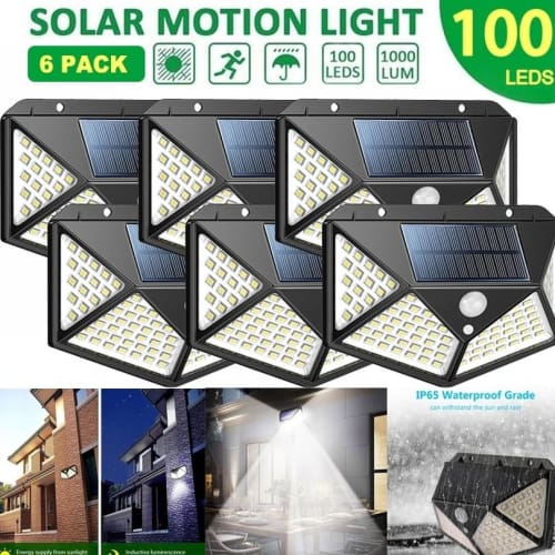 Solar Lights Outdoor 100 Led Bright Motion Sensor Light Wide Angle Wireless Waterproof IP65 Wall for Garden Street