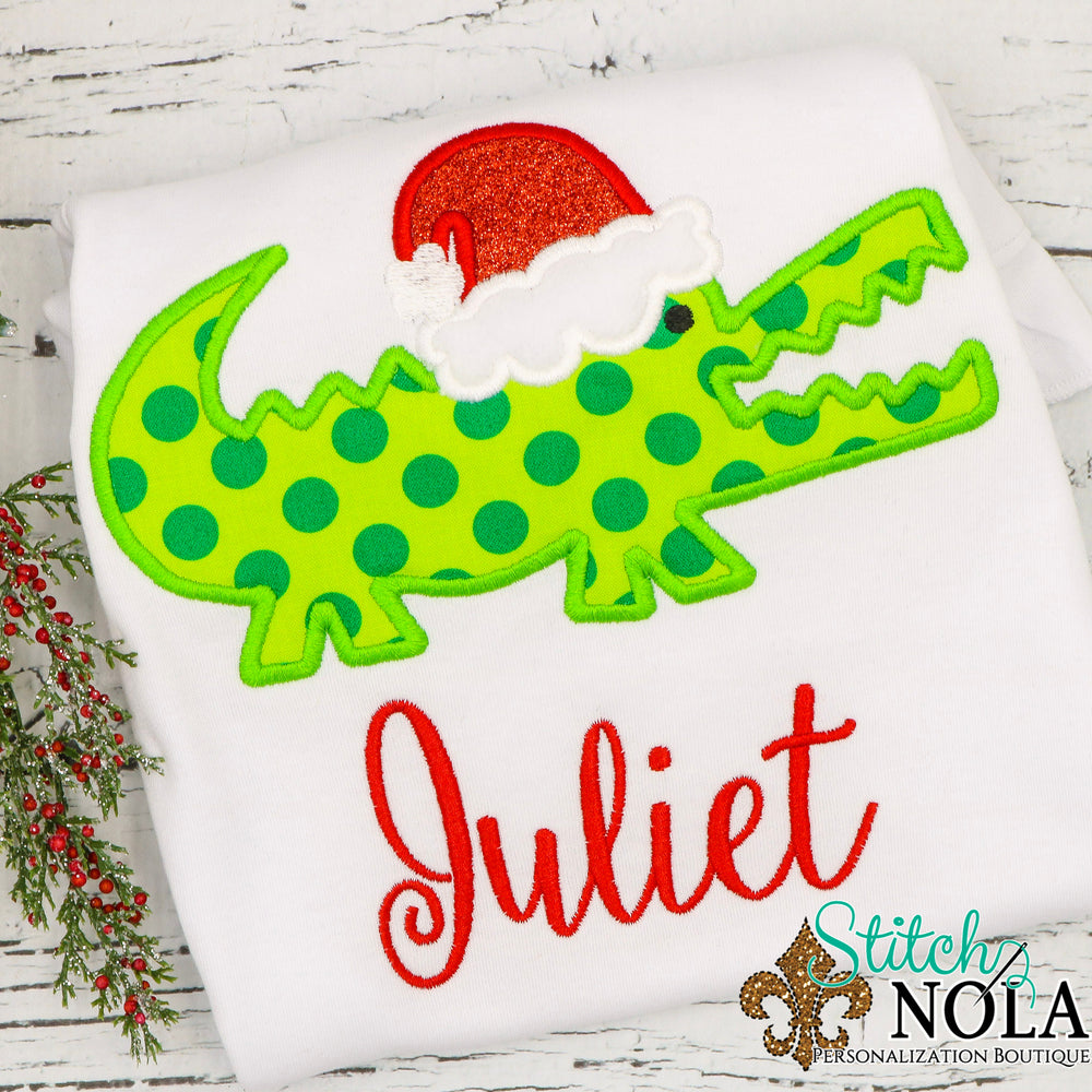 Personalized Christmas Alligator with Santa Hat Applique Shirt