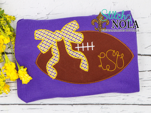 Personalized Purple and Gold  Football on Colored Garment