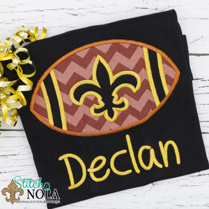 Personalized Black and Gold Football with Fleur de lis Colored Garment
