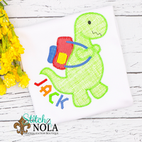 Personalized Back to School Dinosaur with Backpack Applique Shirt