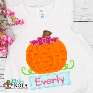 Personalized Pumpkin with Bow and Name Box Applique Shirt