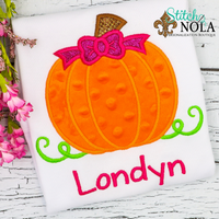Personalized Pumpkin with Bow Applique Shirt