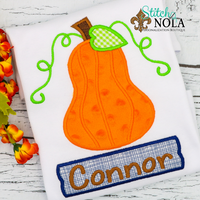 Personalized Pumpkin with Name Box Applique Shirt