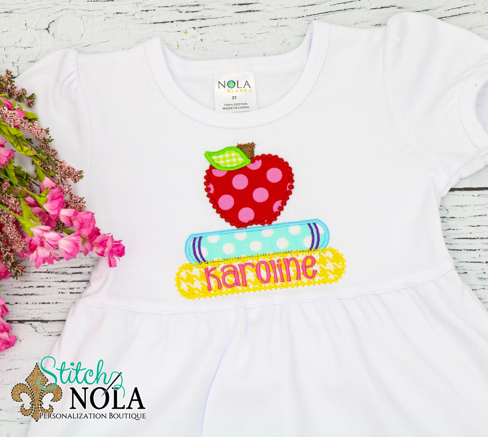 Personalized Back to School Apple with Books Applique Shirt