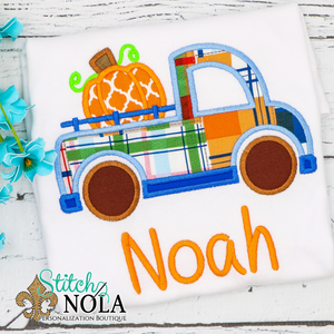 Personalized Pumpkin Truck Applique Shirt
