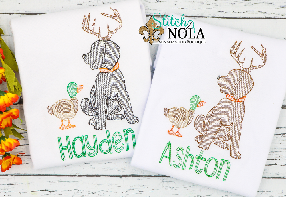 Personalized Lab with Antlers and Duck Sketch Shirt