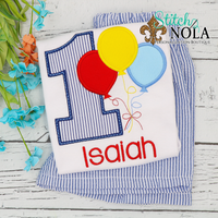 Personalized Birthday Balloon Appliqué Shirt