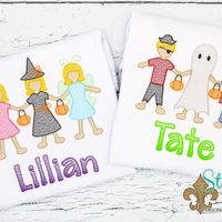 Personalized Halloween Paper Dolls in Costumes Sketch Shirt