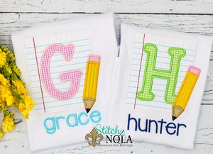 Personalized Back to School Paper and Pencil Alpha Applique Shirt
