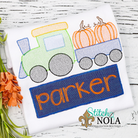 Personalized Pumpkin Train with Name Box Applique Shirt