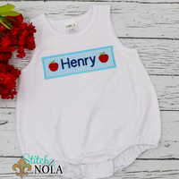 Personalized Back to School Apple Name Plate Applique Shirt