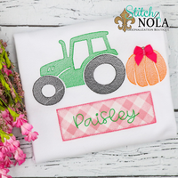 Personalized Pumpkin Tractor with Name Box Applique Shirt