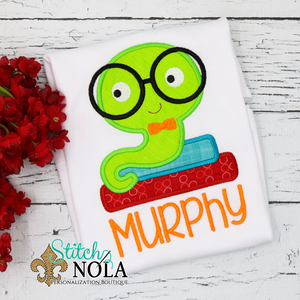 Personalized Back to School Book Worm with Glasses Applique Shirt