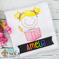 Personalized Back to School Sketch School Girl with Banner Applique Shirt