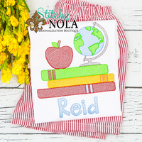 Personalized Back to School Globe with Apple and Books Sketch Shirt