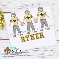 Personalized Black and Gold Football Player Trio Sketch Shirt