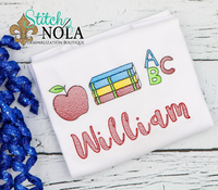 Personalized Back to School Apple and Books ABC Sketch Shirt
