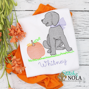 Personalized Lab with Pumpkin Sketch Shirt