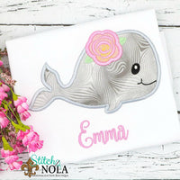 Personalized Whale with Flower Applique Shirt