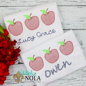 Personalized Back to School Apple Trio Sketch Shirt