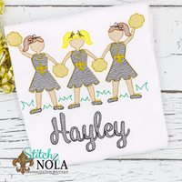 Personalized Black and Gold Cheerleader Trio Sketch Shirt