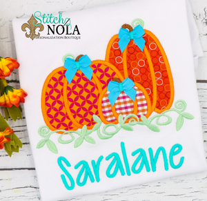 Personalized Pumpkin Trio With Bows Applique Shirt