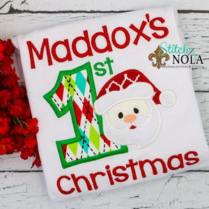 Personalized First Christmas with Santa Applique Shirt