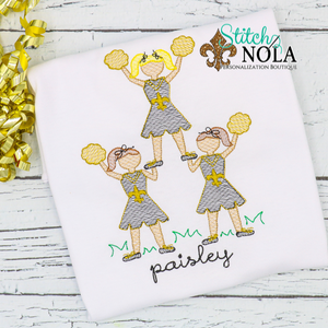 Personalized Black and Gold Cheerleader Stack Sketch Shirt