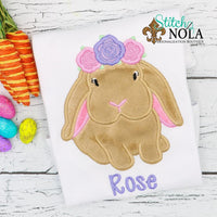 Personalized Easter Bunny with Flower Crown Appliqué Shirt