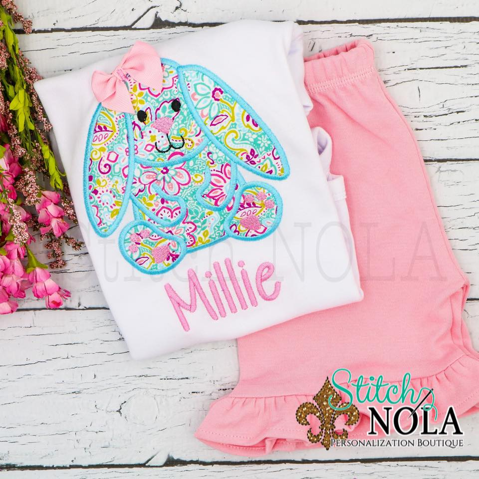 Personalized Floral Easter Bunny with Bow Appliqué Shirt