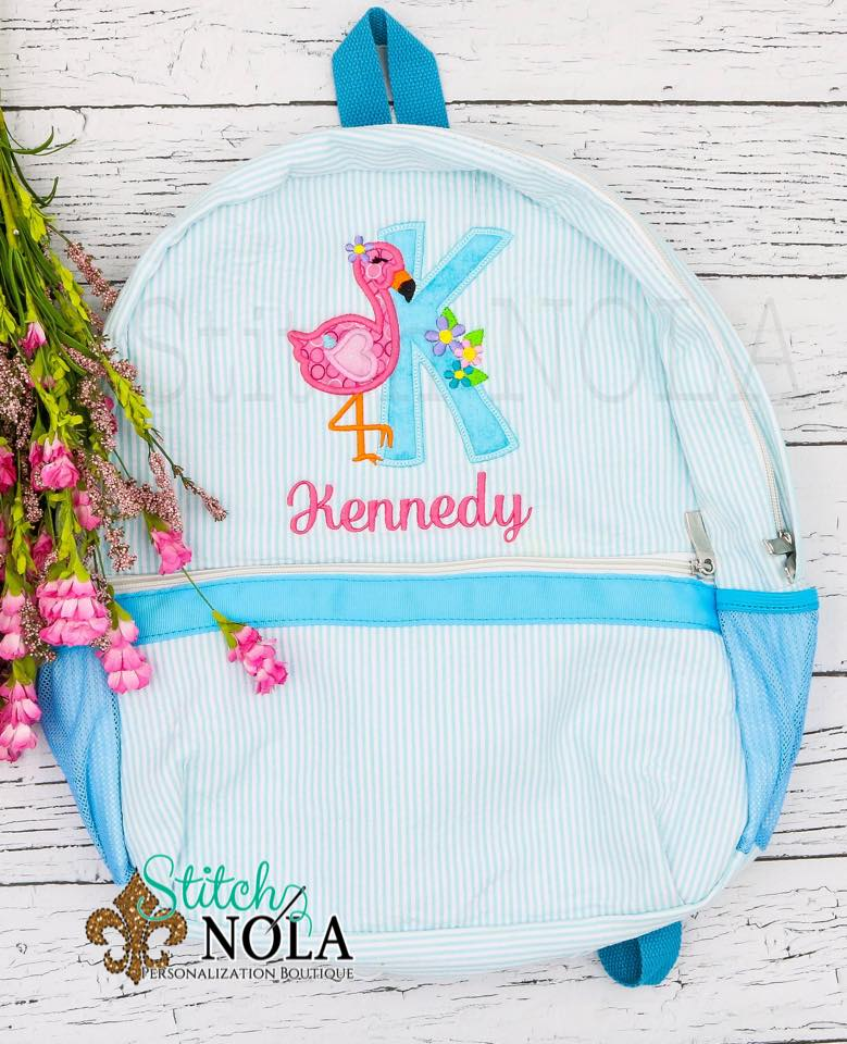 Personalized Seersucker Backpack with Flamingo Alpha Applique, Seersucker Diaper Bag, Seersucker School Bag, Seersucker Bag, Diaper Bag, School Bag, Book