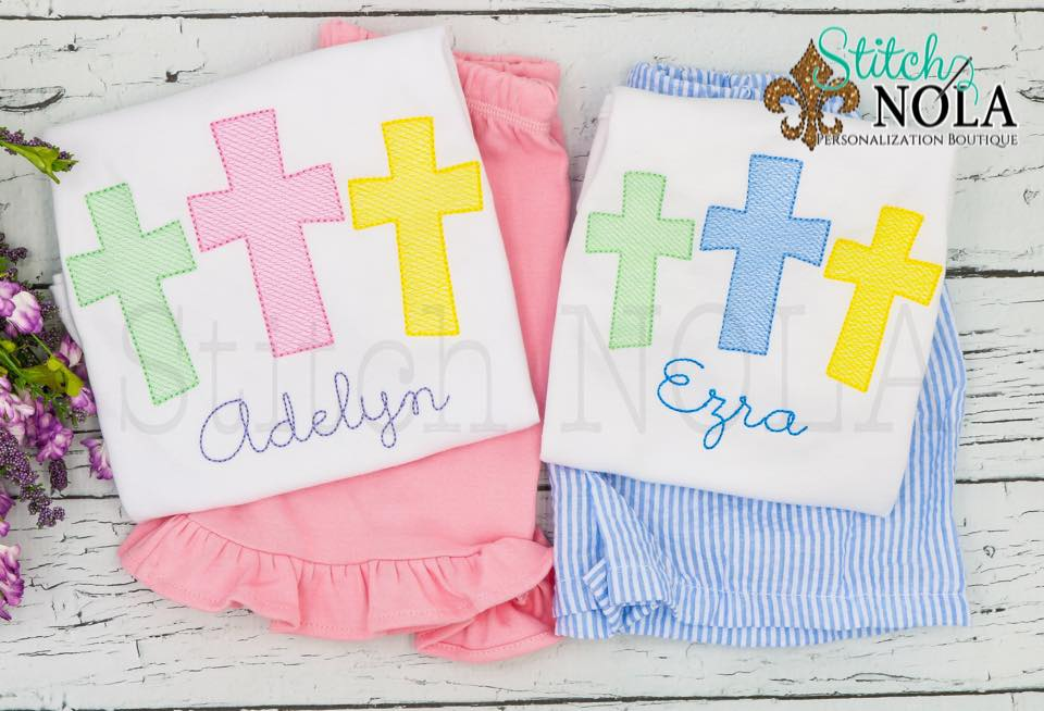 Personalized Easter Cross Trio Sketch Shirt