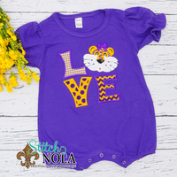 Personalized Purple and Gold LOVE Colored Garment