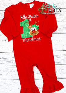 Personalized 1st Christmas Reindeer Appliqué on Colored Garment