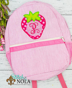 Personalized Seersucker Backpack with Strawberry Applique, Seersucker Diaper Bag, Seersucker School Bag, Seersucker Bag, Diaper Bag, School Bag, Book