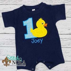 Personalized Birthday Duck Applique Colored Garment