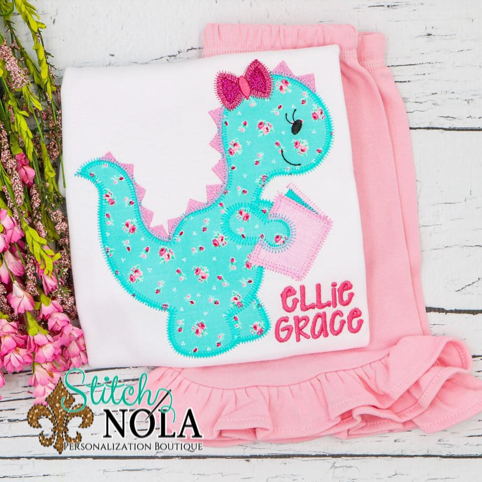 Personalized Back to School Girl Dinosaur with Book Applique Shirt