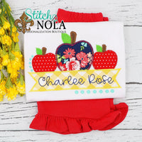 Personalized Back to School Apple Trio Applique with Banner Shirt