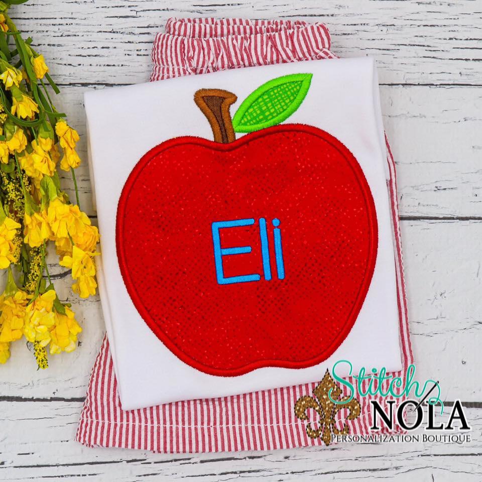 Personalized Back to School Apple Applique Shirt