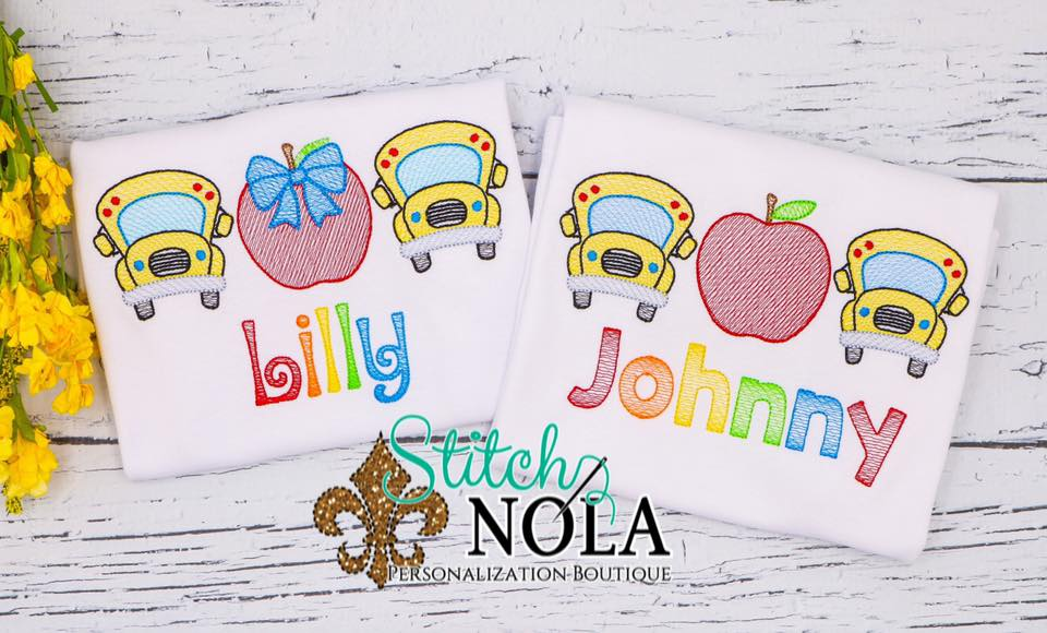 Personalized Back to School Bus and Apple Trio Sketch Shirt