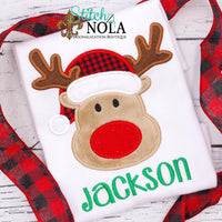 Personalized Christmas Reindeer with Santa Hat Applique Shirt