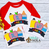 Personalized Back to School Trio Applique with Banner Shirt