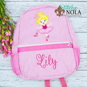 Personalized Seersucker Backpack with Ballerina Applique, Seersucker Diaper Bag, Seersucker School Bag, Seersucker Bag, Diaper Bag, School Bag, Book