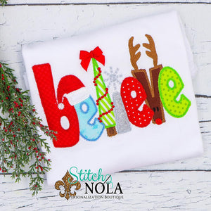 Personalized Christmas Believe Applique Shirt